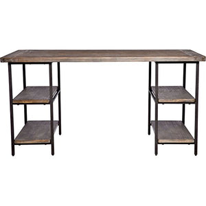 Rustic Desk Provides Classic Style and Contemporary Functionality. Computer Table Workstation Suitable for Home, Office Area, Craft Room, Or Den. PC Laptop Farmhouse Desktop Creates Timeless Feel.