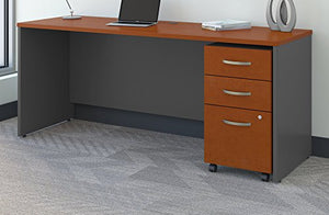 Bush Business Furniture Series C 72W x 24D Office Desk with Mobile File Cabinet in Auburn Maple