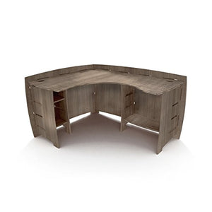 "Legare Furniture Grey Driftwood L-Shaped Corner Desk with Adjustable Shelves, 47"" x 60"""