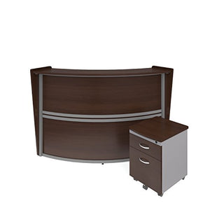 OFM Marque Series Single-Unit Curved Reception Station Package - Office Furniture Reception/Secretary Desk with Walnut Pedestal (PKG-55290-WALNUT)