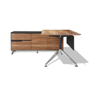 Unique Furniture 482-ZE Executive Desk with Left Return Cabinet, Zebrano