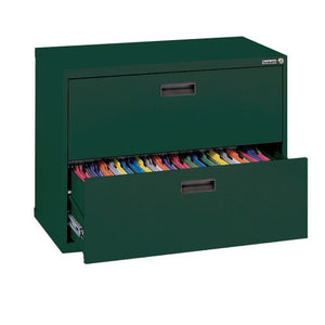 "Sandusky 400 Series Forest Green Steel Lateral File Cabinet with Plastic Handle, 30"" Width x 27-1/4"" Height x 18"" Depth, 2 Drawers"
