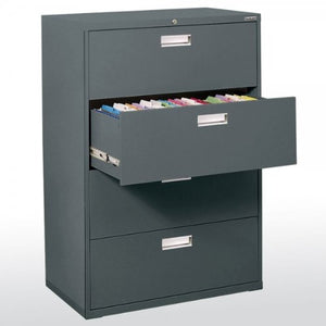 "Sandusky Lee LF6A364-02 600 Series 4 Drawer Lateral File Cabinet, 19.25"" Depth x 53.25"" Height x 36"" Width, Charcoal"