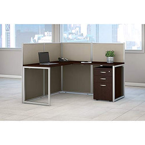 Bush Business Furniture Easy Office 60W L Shaped Desk Open Office with Mobile File Cabinet in Mocha Cherry