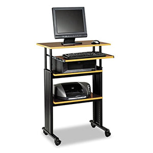 "Safco Products 1929CY Muv 35-49"" H Stand-Up Desk Adjustable Height Computer Workstation with Keyboard Shelf, Cherry"