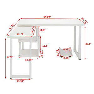 FCH L-Shaped Computer Desk with Storage Shelf White