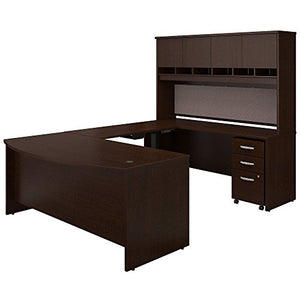 Bush Business Furniture Series C 72W U Shaped Desk with Height Adjustable Bridge, Hutch and Storage in Mocha Cherry
