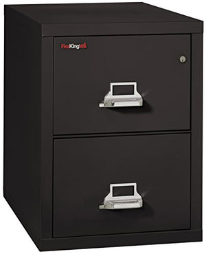 "FireKing Fireproof Vertical File Cabinet (2 Legal Sized Drawers, Impact Resistant, Waterproof), 27.75"" H x 20.81"" W x 31.56"" D, Black"