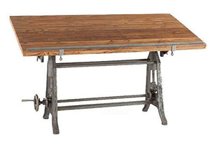 Burleson Home Furnishings Industrial Tilt Top Adjustable Height Drafting Style Desk
