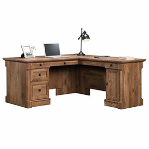 "Sauder 420606 Palladia L-Shaped Desk, L: 68.74"" x W: 65.12"" x H: 29.61"", Vintage Oak finish"