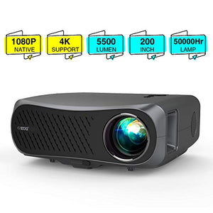 2020 Full HD 1080P Projectors LCD 1920x1080 Support 4K,Dual HDMI USB VGA AV Audio,LED 5500 Lumens Native 1080P Proyector for Home Cinema Theater Gaming Outdoor Movie DVD TV Laptop PC Presentation