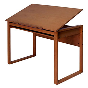 1-Drawer Indoor Workspace Home/Office Drafting Table, Solid Wooden Construction + Expert Guide
