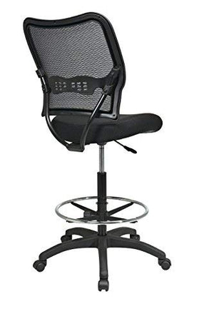 SPACE Seating Deluxe AirGrid Back with Mesh Seat, Adjustable Footring, Pneumatic Seat Height Adjustment and Nylon Base Drafting Chair, Black