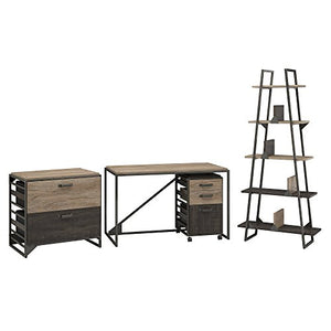 Bush Furniture Refinery 50W Industrial Desk with A Frame Bookshelf and File Cabinets in Rustic Gray