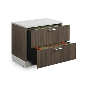 "Esquire 31.5""W Two Drawer Lateral File Driftwood Laminate/Silver Laminate Kickplate and Hardware"