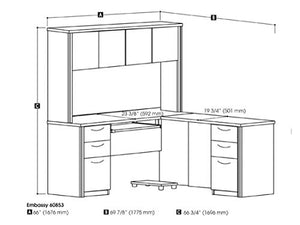 L-Shaped Desk with Two pedestals and Hutch