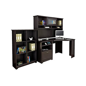 Bush Furniture Cabot Corner Desk with Hutch and 6 Cube Organizer in Espresso Oak