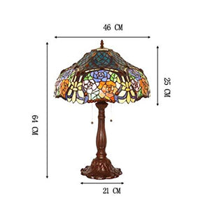 Yd&h Tiffany Style Table Lamp, 18-inch Hexagram Rose Design Desk Light, Bedroom Stained Glass Bedside Light Living Room Study Bar