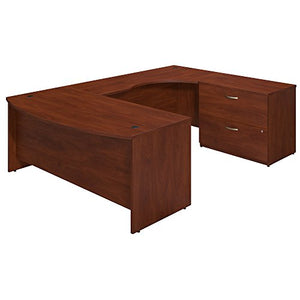 Bush Business Furniture Series C Elite 72W x 36D Right Hand Bowfront U Station Desk Shell with Lateral File in Hansen Cherry