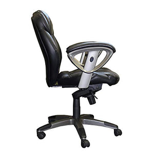 Mayline UL330MBLK Ultimo 300 Mid-Back Task Chair with Arms, Black Leather
