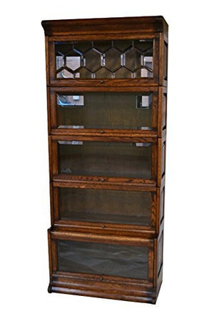 Crafters & Weavers Arts and Crafts Solid Oak 5 Stack Barrister Bookcase with Leaded Glass