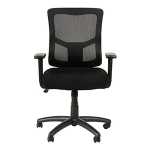 Alera ALEELT4214F Elusion II Series Mesh Mid-Back Swivel/Tilt Chair with Adjustable Arms, Black