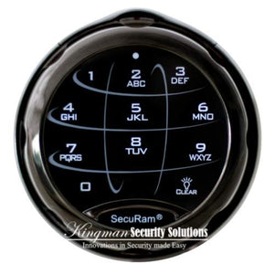 SecuRam SafeLogic Xtreme (Black Chrome Finish) Safe Lock. EMP Proof - Electronic Button Entry, with Mechanical Backup. Backlit Keypad and Dial. Up to 3 Codes. Std Lock Mounting Platform.