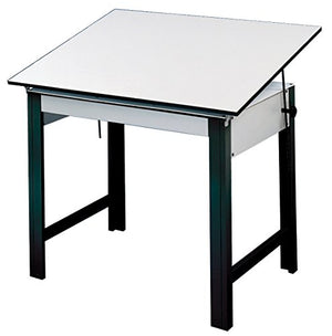 Alvin DM60ND-BK DesignMaster Table, Black Base White Top 37.5 inches x 60 inches