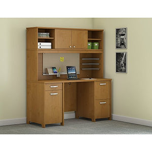 Bush Furniture Envoy Office Desk with Hutch and 2 Pedestals in Natural Cherry