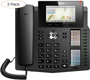 Fanvil X6 High-End VoIP Phone, 4.3-Inch Color Display, Two 2.8-Inch Side Color Displays for DSS Keys. 20 SIP Lines, Dual-Port Gigabit Ethernet, Power Adapter Not Included (Pack 2)