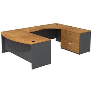 Bush Business Furniture Series C 72W Bowfront RH U-Station with 2-Drawer Lateral File