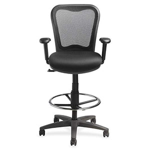 "Lorell 25981 Mesh-Back Drafting Sitting Stool, 30"" x 18"" x 29"", Black"