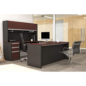 Bestar Connexion U-Shaped Workstation with Three Drawers, Bordeaux/Slate