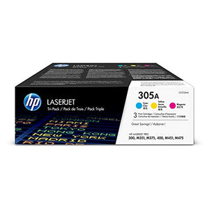 HP 305A (CF370AM) Cyan, Magenta & Yellow Original Toner Cartridges, 3 Cartridges (CE411A, CE412A, CE413A) for HP LaserJet Pro 400 Color MFP M451nw M451dn M451dw, Pro 300 Color MFP M375nw