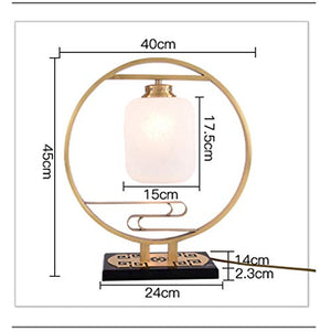 TYXHZL Personality Simple Bedroom Bedside Creative lamp Retro Copper Living Room Hotel Warm Light Study Room Lamps