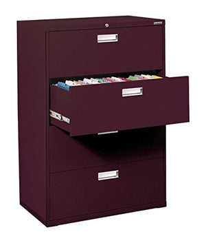 "Sandusky Lee LF6A364-03 600 Series 4 Drawer Lateral File Cabinet, 19.25"" Depth x 53.25"" Height x 36"" Width, Burgundy"