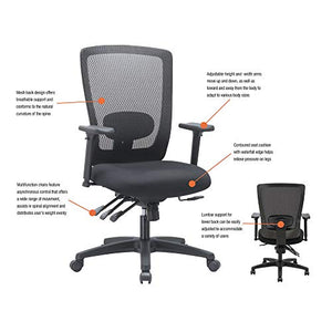 Alera ALENV42M14 Envy Series Mesh Mid-Back Multifunction Chair, Black