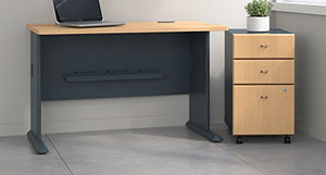 Bush Business Furniture Series A 48W Desk with Mobile File Cabinet in Beech and Slate