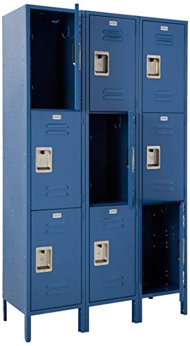 Salsbury Industries Assembled 3-Tier Extra Wide Standard Metal Locker with Three Wide Storage Units, 6-Feet High by 18-Inch Deep, Blue
