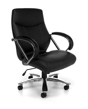 OFM Avenger Series Big and Tall Leather Executive Chair - Black Mid Back Computer Chair with Arms, Black (811-LX-BLK)