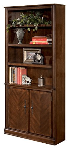 Ashley Furniture Signature Design - Hamlyn Large Door Bookcase - 3 Adjustable Shelves/2 Cabinets - Traditional - Medium Brown Finish
