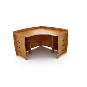 Legaré Furniture Corner L-Shaped Office Desk, Home Computer Desk, No Tool Assembly with Adjustable Shelves, Amber Bamboo