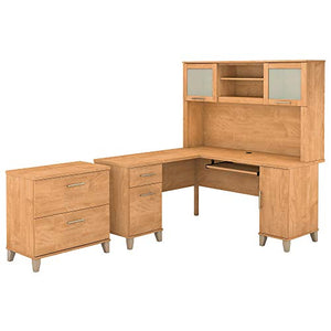 Bush Furniture Somerset 60W L Shaped Desk with Hutch and Lateral File Cabinet in Maple Cross
