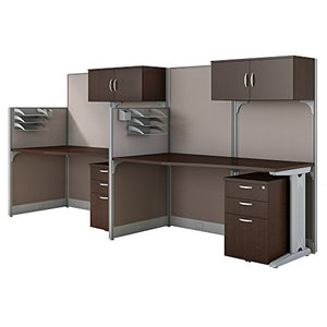 Bush Business Furniture Office in an Hour 2 Person Cubicle Workstations in Mocha Cherry
