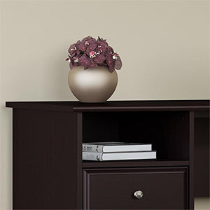 Bush Furniture Cabot 72W 3 Position L Shaped Sit to Stand Desk with Hutch and File Cabinet in Espresso Oak