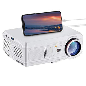 "Lexsong HD Video Projector Native 1920×1080P and 300"" Display LED LCD Portable Theater Projectors 6000 Lumens for Home Outdoor Company Compatible with TV Stick, Phone, PS4, HDMI, VGA, TF and USB"