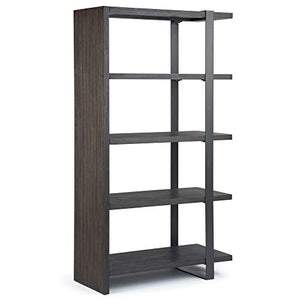 Simpli Home AXCMTG-09 Montgomery Solid Acacia Wood 66 inch x 36 inch Modern Industrial Bookcase in Distressed Dark Brown