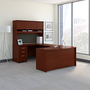 Bush Business Furniture Series C 60W Left Handed Bow Front U Shaped Desk with Hutch and Storage in Mahogany