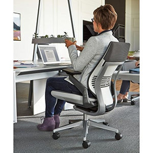 Steelcase Gesture Office Chair - Cogent Connect Licorice Upholstered Wrapped Back Platinum Metallic Frame Medium Seat Light Seagull Seat/Back Dark Merle Arms Hard Floor Caster Wheels