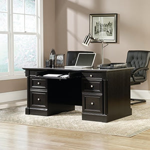 "Sauder 420783 Bleeker Street Executive Desk, L: 65.12"" x W: 29.53"" x H: 29.61"", Obsidian Oak finish"